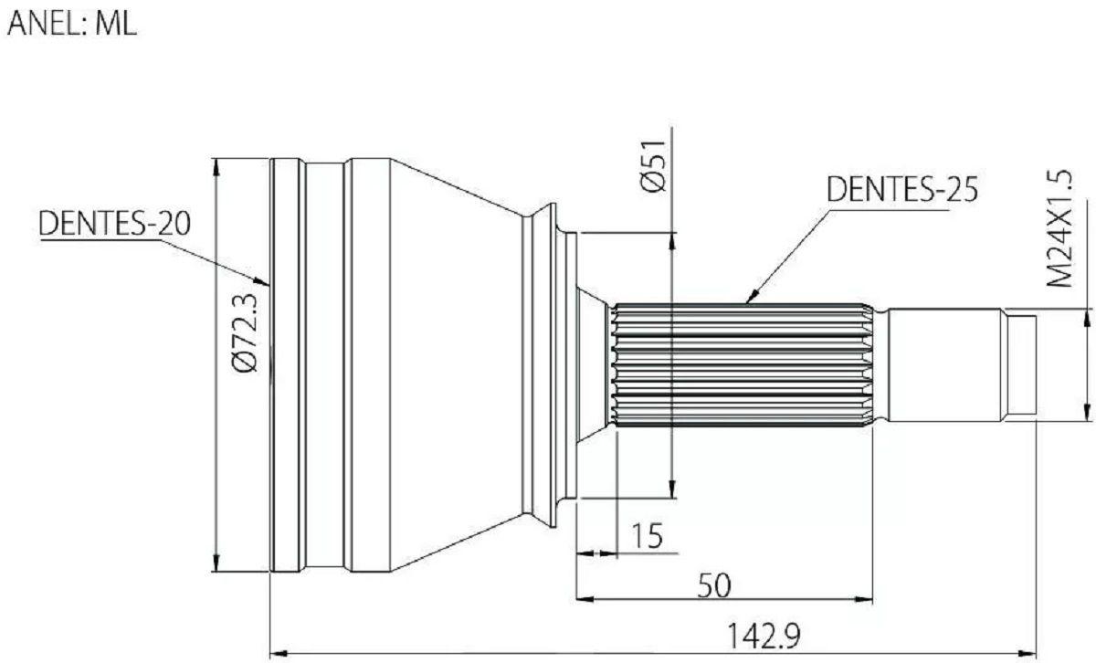 Junta Homocinetica Onix Cobalt Spin Prisma 1.0 Ou 1.4 - 25X20 Estrias