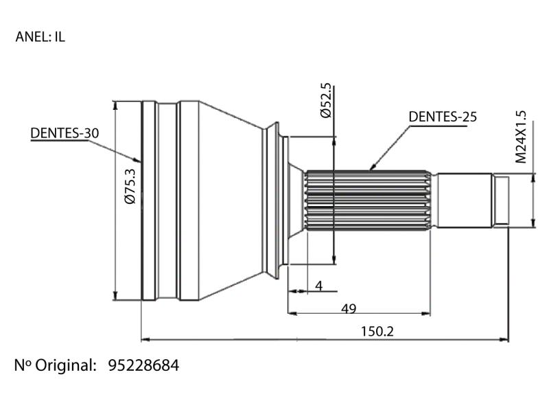 Junta Homocinetica Spin E Sonic Automatico - 25x30 Estrias