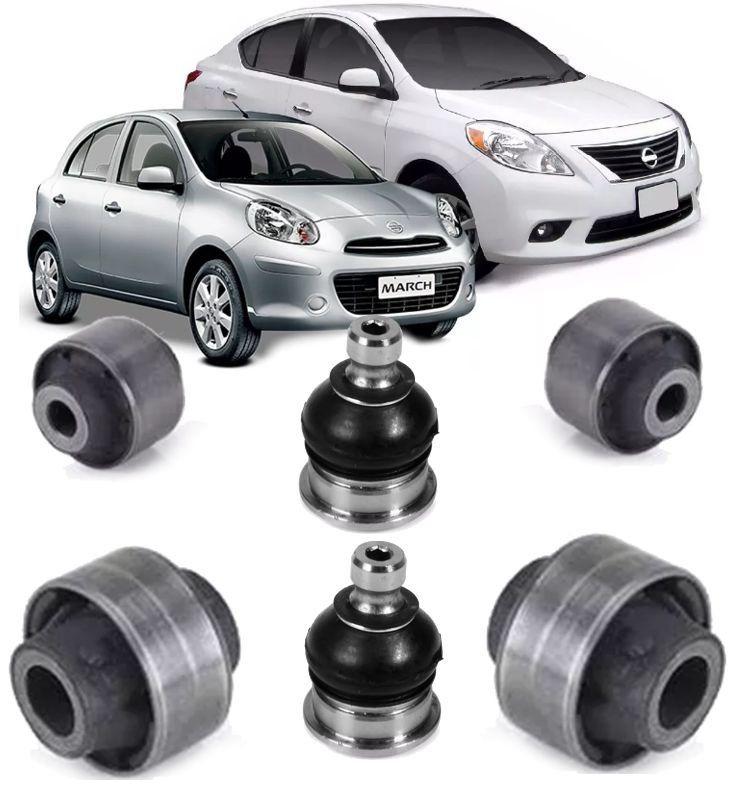 Kit 4 Bucha e 2 Pivo da Bandeja  Suspensao Nissan March e Versa de 2012 a 2017