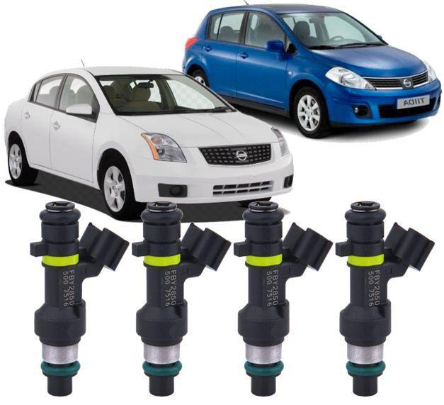 Kit com 4 Bico Injetor Nissan Tiida Sentra X-Trail 1.8 e 2.0 16V a Gasolina - Fby2850