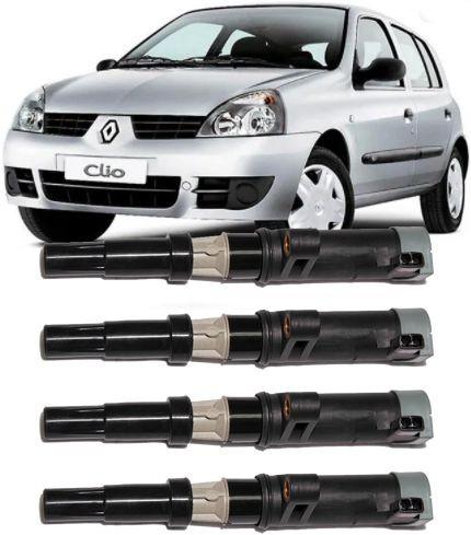 Kit com 4 Bobina de Ignicao Renault Clio Scenic Megane Kangoo 1.6 16v