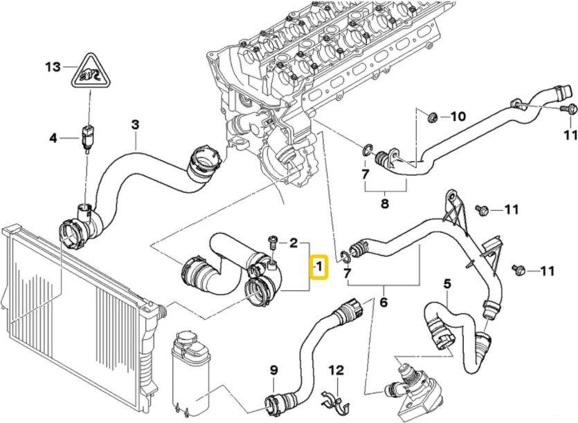 Mangueira Superior Radiador Bmw E53 X5 3.0 6cc de 2001 a 2006 - 11537500733