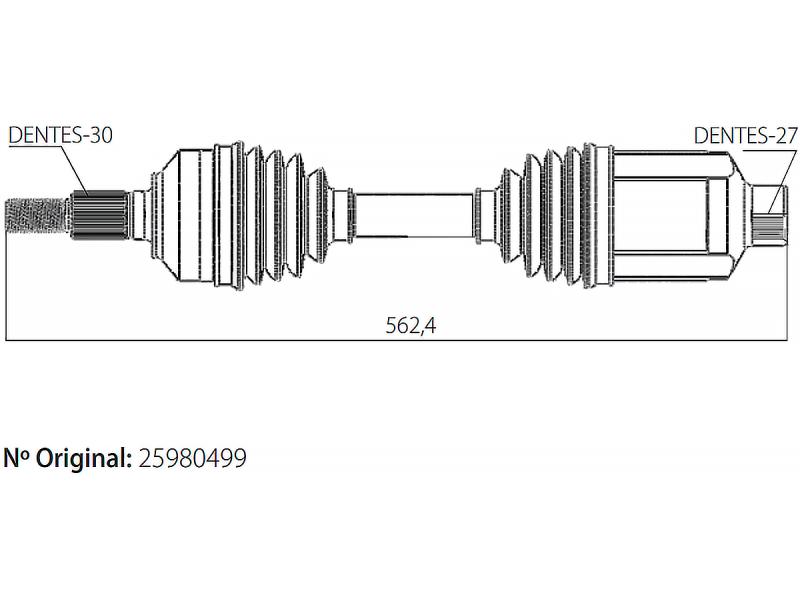 Semi Eixo Homocinetico Captiva 3.6 V6 24v 4x2 e 4x4 de 2008 À 2010 Lado Direito