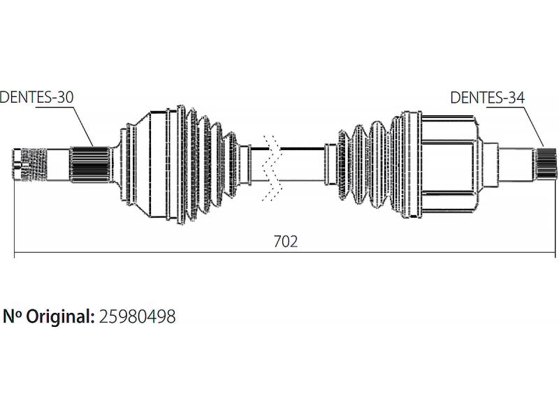 Semi Eixo Homocinetico Captiva 3.6 V6 24v 4x2 e 4x4 de 2008 À 2010 Lado Esquerdo