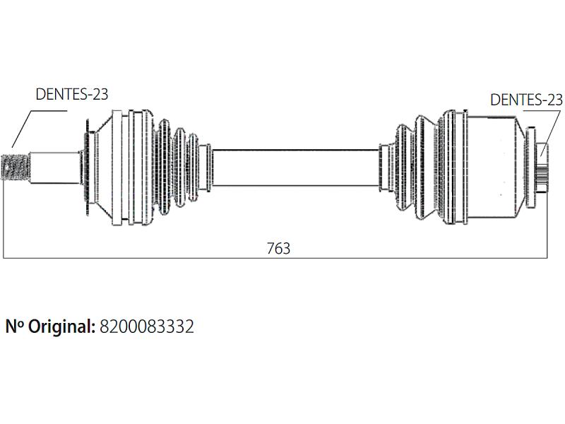 Semi Eixo Homocinetico Clio e Kangoo 1.6 16v de 2005 à 2017 - Direito