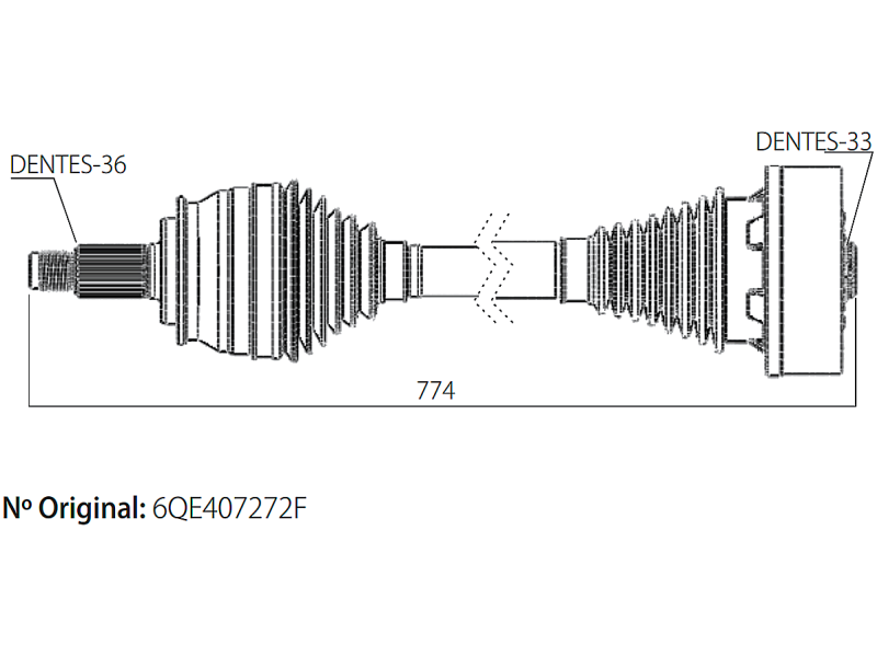 Semi Eixo Homocinetico Fox Spacefox Polo 1.6 de 2003 à 2016 - Ld Esquerdo