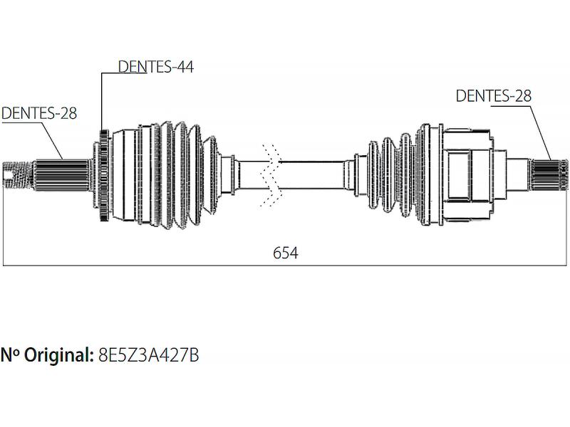 Semi Eixo Homocinetico Fusion 2.3 e 2.5 16V SEL 2005 à 2009 Lado Esquerdo