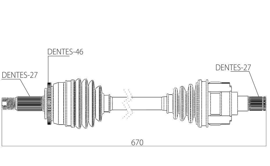 Semi Eixo Homocinetico Kia Cerato 1.6 e 2.0 Automático de 2009 à 2017 - Esquerdo