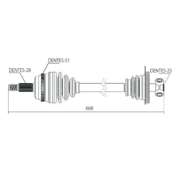Semi Eixo Homocinetico Master 2.8 E 2.5 16V Dci de 2002 a 2015 Esquerdo