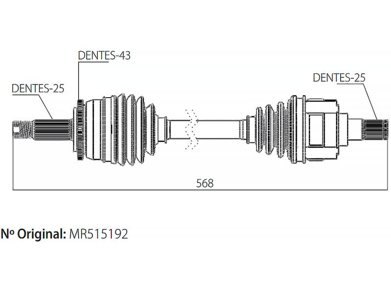 Semi Eixo Homocinetico Pajero Tr4 2.0 16v Câmbio automático de 2002 à 2015 - Ld Direito
