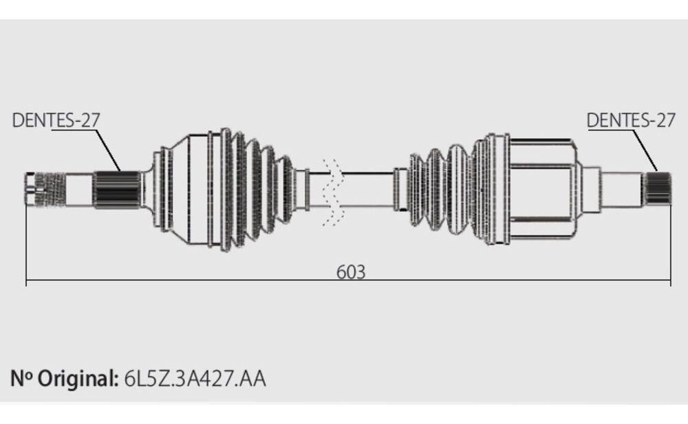 Semi Eixo Homocinetico Ranger 2.3 16v 2.8 e 3.0 Diesel 4x4 2001 à 2012 - Esquerdo