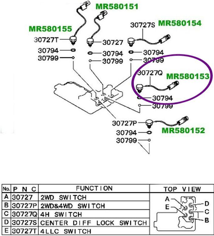 Sensor Interruptor Tracao 4x4 Pajero Triton Dakar de 2000 À 2018 - Mr580153