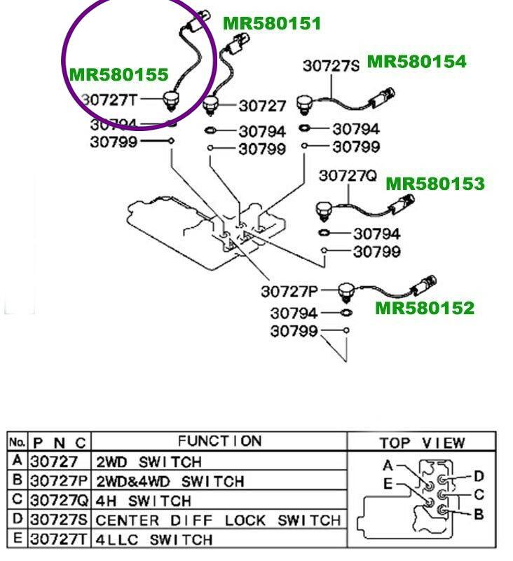 Sensor Interruptor Tracao 4x4 Pajero Triton Dakar de 2000 À 2018 - Mr580155