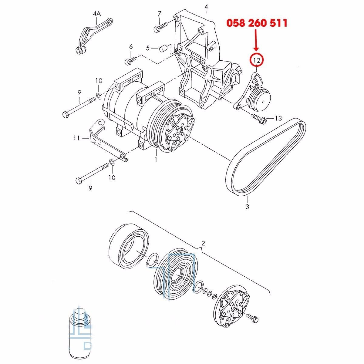 Tensor Correia Ar Condicionado Passat 1.8 20v 98.. Audi A4