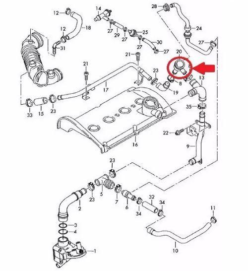 Valvula Diafragma Anti Chama Golf Passat Audi A3 A4 1.8 Turbo 06a129101d