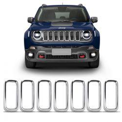 Aplique Cromado Grade Jeep Renegade 2019 2020 Aro Moldura