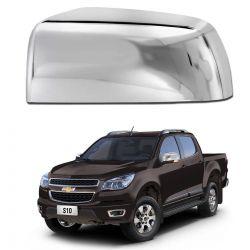 Aplique Retrovisor Chevrolet S10 2012 a 2017 Cromado Lado Esquerdo