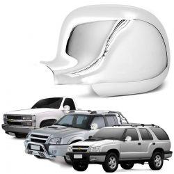 Aplique Retrovisor S10 Blazer Silverado 1995 a 2011 Cromado Lado Esquerdo