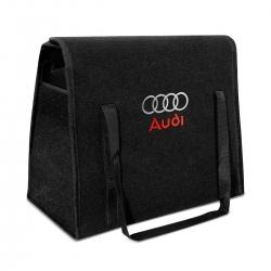 Bolsa Organizadora Porta Malas Logo Audi Carpete Preto 20 Litros