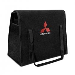 Bolsa Organizadora Porta Malas Logo Mitsubishi Carpete Preto 20 Litros