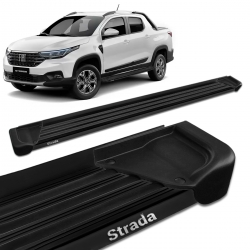 Estribo Lateral Fiat Strada 2021 CD CS Alumínio Preto A1