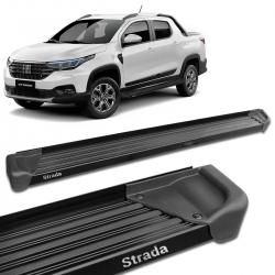 Estribo Lateral Fiat Strada 2021 CD CS Alumínio Preto A3