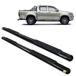 Estribo Lateral Hilux CD 2005 a 2015 Oblongo Oval Preto