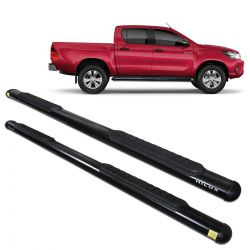 Estribo Lateral Hilux CD 2016 a 2019 Oblongo Oval Preto Track