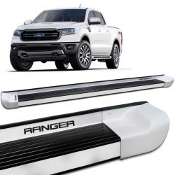 Estribo Lateral Ranger CD 2013 a 2019 Branco Artico Personalizado