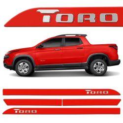 Friso Lateral Fiat Toro 2016 a 2020 Vermelho Colorado Alto Relevo