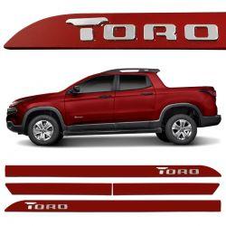 Friso Lateral Fiat Toro 2016 a 2020 Vermelho Tribal Alto Relevo
