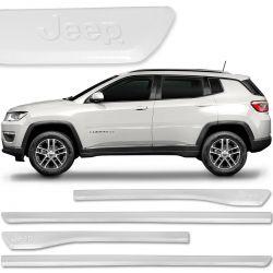 Jogo De Friso Lateral Jeep Compass 2012 a 2019 Branco Polar