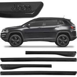 Jogo De Friso Lateral Jeep Compass 2012 a 2019 Preto Carbon