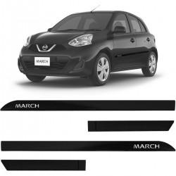 Jogo de Friso Lateral March 2012 a 2020 Preto Premium