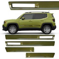 Jogo de Friso Lateral TopMix para Jeep Renegade Vazado Cor Verde Comando
