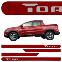 Jogo de Friso Lateral Fiat Toro 2016 a 2019 Vermelho Tribal