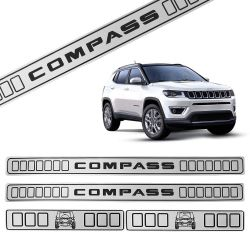 Jogo de Soleira Porta Jeep Compass 2012 a 2019 Resinada Prata
