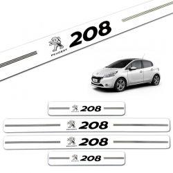 Jogo de Soleira Resinada Peugeot 208 2014 2015 Branco 4 Pçs