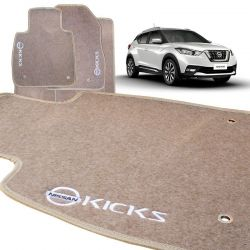 Tapete Carpete Nissan Kicks 2017 2018 Bege Bordado
