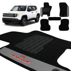 Jogo de Tapete Carpete Jeep Renegade 2016 a 2020 Preto 5 Pçs