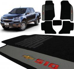 Jogo De Tapetes Carpete Chevrolet S10 CD 2012 a 2020 Preto Bordado 5 Peças