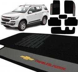 Jogo De Tapetes Carpete Chevrolet Trailblazer 2013 a 2019 Preto Bordado 6 Peças