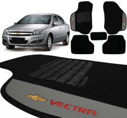Jogo De Tapetes Carpete Chevrolet Vectra 2006 a 2011 Preto Bordado 5 Peças