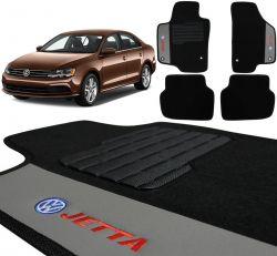Jogo de Tapetes Carpete Volkswagen Jetta 2011 a 2017 Preto Bordado 4 Peças