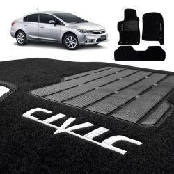 Tapete Carpete New Civic 2012 a 216 Preto Bordado 3 Pçs