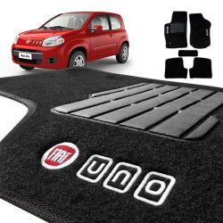 Tapete Carpete Novo Fiat Uno 2011 a 2018 Preto Bordado