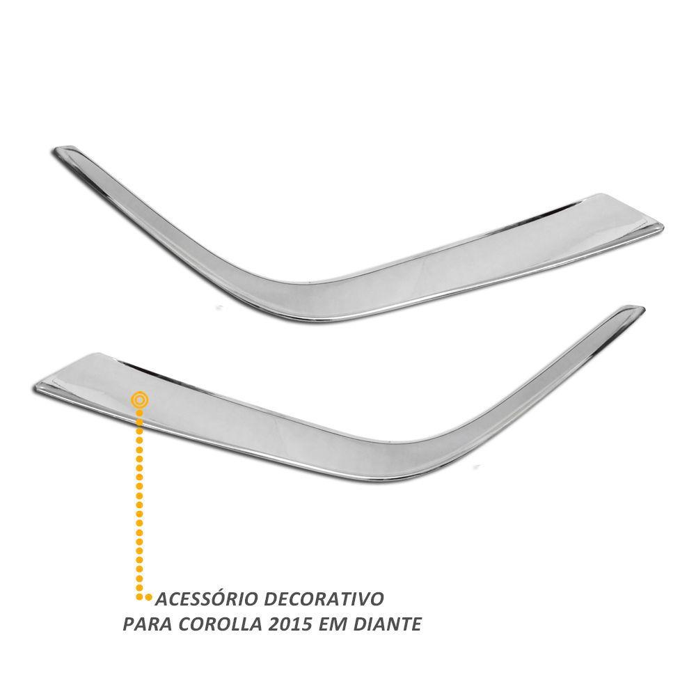 Aplique Cromado Inferior do Farol de Milha Corolla 2015 a 2019
