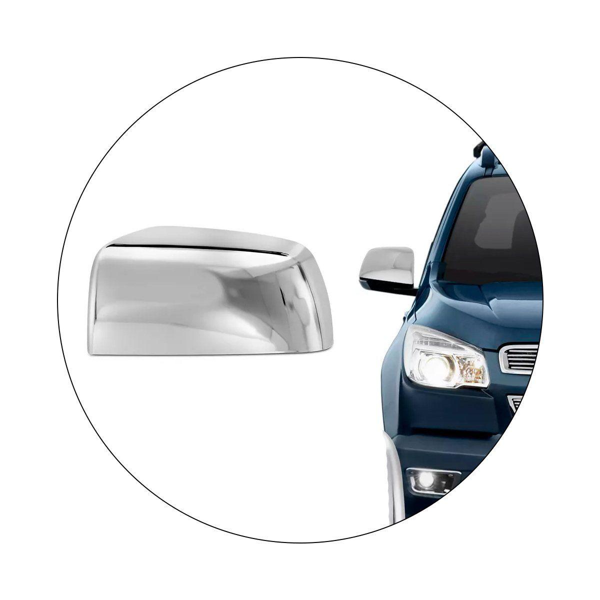 Aplique Retrovisor Chevrolet S10 2012 a 2016 Cromado Lado Direito