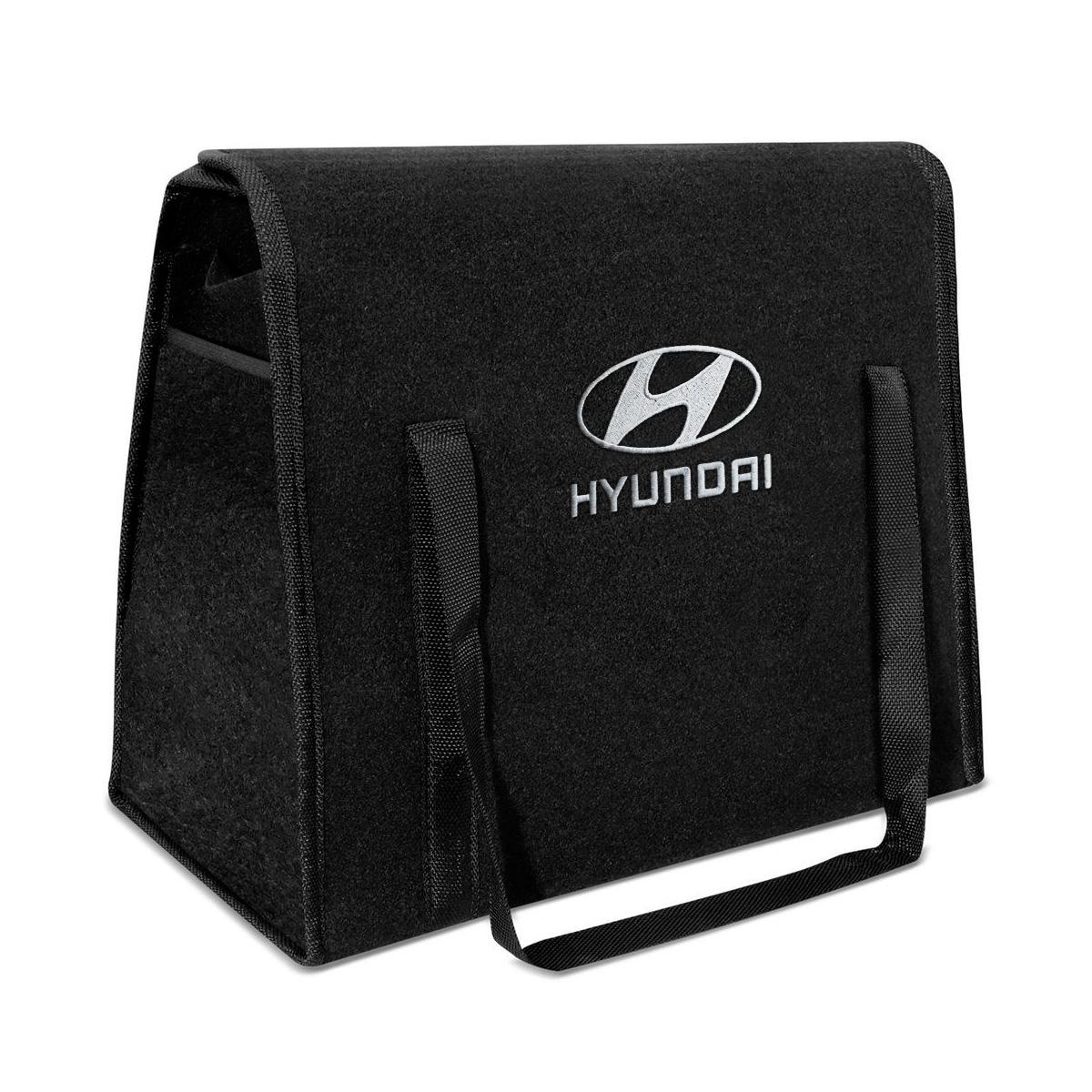 Bolsa Organizadora Porta Malas Logo Hyundai Carpete Preto 20 Litros