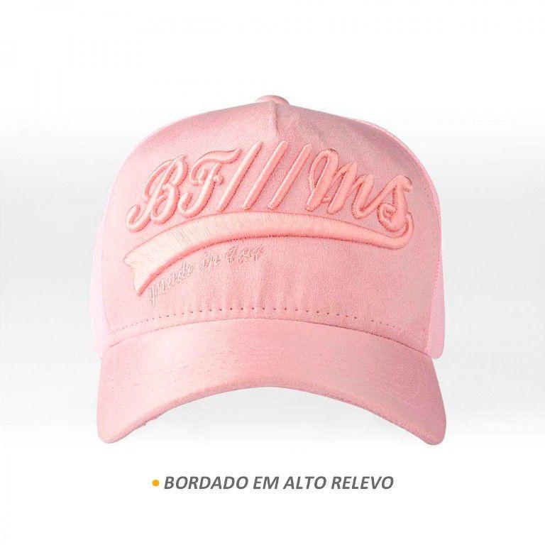 Boné BFMS Original American Type Rosa em Camurça Tela Ajustável